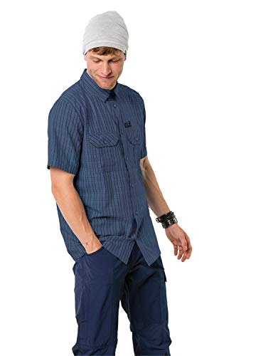 Jack Wolfskin Herren Thompson Shirt Men Schnelltrocknendes Outdoor Hemd Kurzarm, Ocean Wave Checks, M