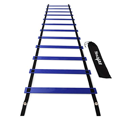 Yes4All Agility Ladder Speed Training Equipment - Speed Ladder for Kids and Adults with Carry Bag - 12 Rungs Blue