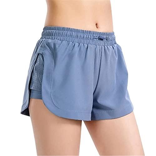 Shorts de Deporte Mujer 2 en 1 Mujeres Pantalones cortos de deporte con cintura elástica de malla de forma rápida gimnasio de gimnasio de gimnasio de la compresión Pantalones cortos de yoga para Runni