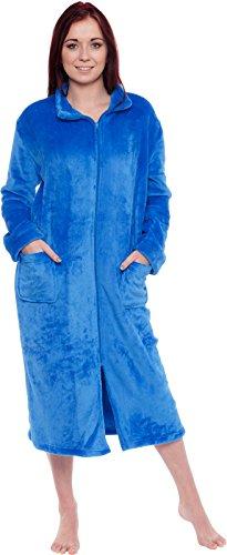 Silver Lilly - Albornoz para mujer con cierre, forro polar de felpa larga con cierre, Azul, XXL