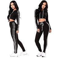 Tomblin Women Casual Sport Bodycon Long Sleeve Crop Top Long Skinny Pant Set Tracksuit