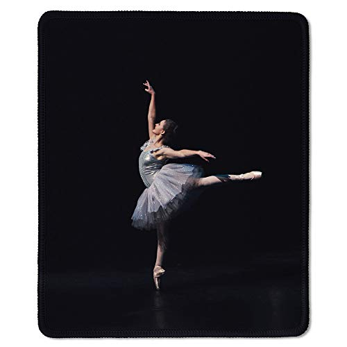 dealzEpic - Art Mousepad - Natural Rubber Mouse Pad Printed with Female Ballet Dancer (Ballerina) Against Black Background - Stitched Edges - 9.5x7.9 inches