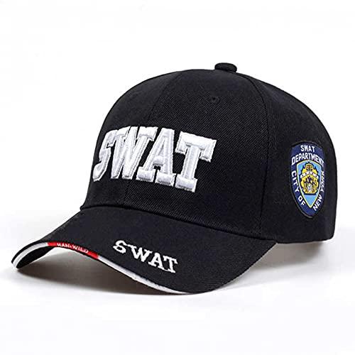 gorra Gorras Beisbol Nueva gorra táctica de moda para hombre, gorra de béisbol con bordado Swat, sombreros de Hip Hop, gorras Snapback, Gorras ajustables de algodón, Gorras planas para hombre,Black