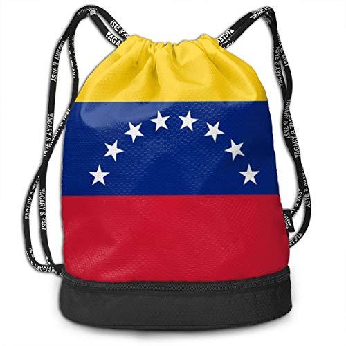 KLing Swiming Travel Gym Beam Mochila Flag of Venezuela Beam Mochila Baloncesto, Voleibol, Béisbol Tote Cinch Sack para Niños Adolescentes Jóvenes