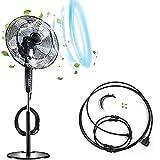 QFFL Kit Nebbia Ventola, con 3 M di Tubo in PE, 4 Ugelli, Sistema di Raffreddamento Esterno, per Cool Patio Breeze, Water Misters, Si Collega a Qualsiasi Fan (Size : 18 inch)