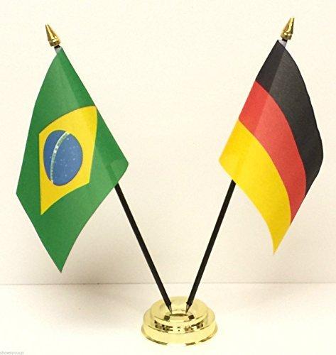 Rio Olympischen Spiele 2016Brasilien & Germany Freundschaft Tisch Flagge Set + Boden + 59mm Button