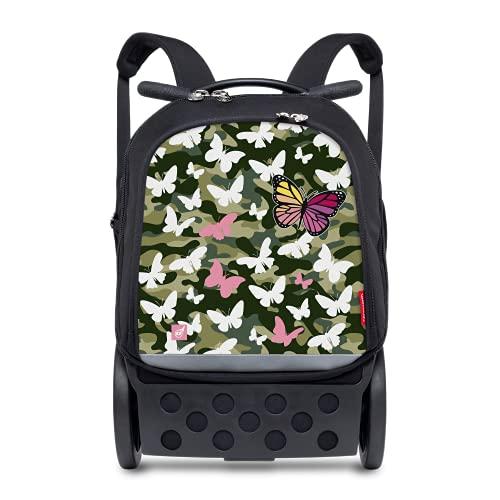 Nikidom - Mochila Niño - Roller Up XL Butterfly Camo - 53 x 38 x 23 Cm - Mochila Resistente - Unisex - Mochila con Ruedas Base Reforzada - Mochila Escolar Niño - Incluye Correas