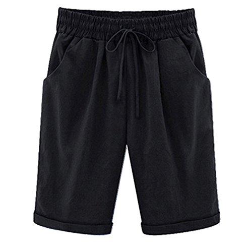 AnyuA Pantalones Cortos para Mujer Cintura Elástica Rodilla de Longitud Salvaje Bermuda Talla Grande Negro XL