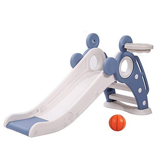 滑り台 折りたたみすべり台 安全設計バスケットボール付き 対象年齢1歳~6歳 遊具 キッズ 誕生日 クリスマス プレゼント(青白)