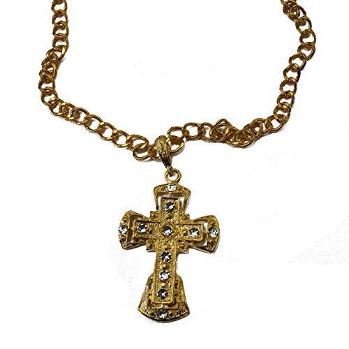 PARTY DISCOUNT Kette Kreuz, Gold mit Steinchen