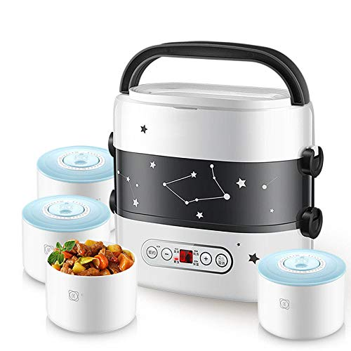 JINSE Smart elektrische lunchbox, kleine rijstkoker dubbellaags keramische verwarming smart touch voering LCD-dating