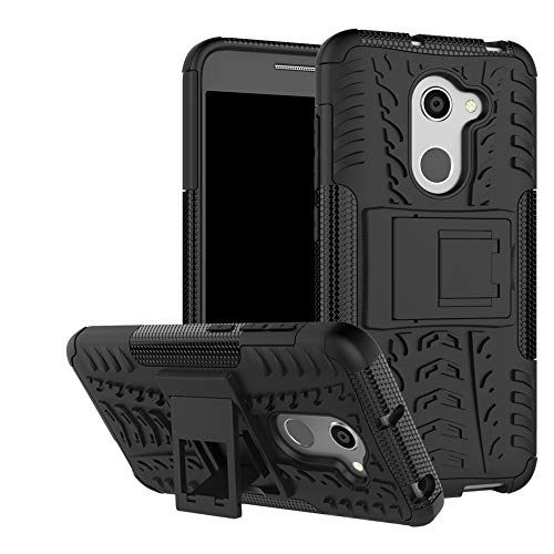 LFDZ Alcatel A3 Tasche, Hülle Abdeckung Cover schutzhülle Tough Strong Rugged Shock Proof Heavy Duty Hülle Für Alcatel A3 Smartphone (mit 4in1 Geschenk verpackt),Schwarz