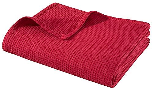 WOHNWOHL Tagesdecke 150 x 200 cm • Waffelpique leichte Sommerdecke aus 100prozent Baumwolle • Luftige Sofa-Decke vielseitig einsetzbar • Leicht zu pflegene Wohndecke • Baumwolldecke Farbe: Rot