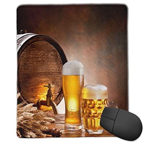 VINISATH Alfombrilla Raton Barril de Madera Licor Retro Taza de Cerveza rebosante de Trigo Maduro Barril de Cerveza Grifo de Agua Humor Escena de la Naturaleza Alfombrilla Gaming Alfombrilla
