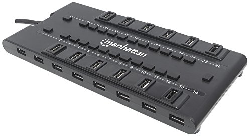 Manhattan 28 Port USB Mondo Hub II - with 24 USB-A 2.0 Ports, 4 USB-A 3.0 Ports, Individual On-Off Switches, 5V / 4A Power Adapter Included, 163606