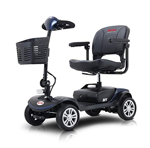 Folding Mobility Scooter for Adults and Senior, Motorized Electric Scooter with Head Light and Rear Brake Light, Improved Battery for Long Range Driving and Travel, 4 Wheel (Blue)