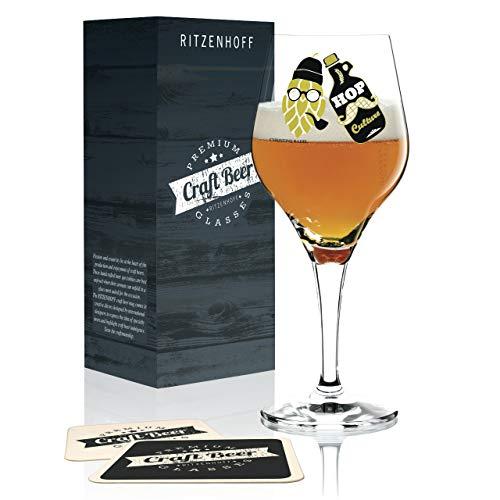 RITZENHOFF Craft Beer Bierglas von Christine Radel, aus Kristallglas, 250 ml, mit fünf Bierdeckeln