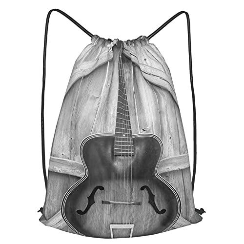 AndrewTop Kordelzug Beutel Unisex Turnbeutel,Vintage Akustikinstrument Gitarre hängt an alten Holztür Zäune Country Ranch,Kordelzugbeutel Sport Outdoor Reisen Rucksack