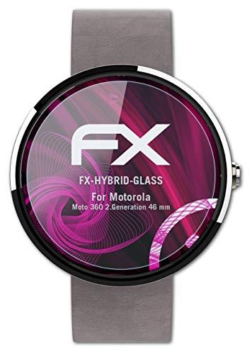 atFoliX Glasfolie kompatibel mit Motorola Moto 360 2.Generation 46 mm Panzerfolie, 9H Hybrid-Glass FX Schutzpanzer Folie