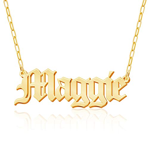 Custom Name Necklace, 18K Gold Plated Nameplate Personalized Jewelry Gift for Women
