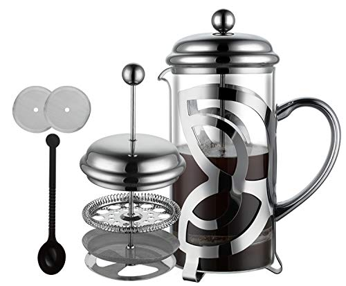 Meelio Cafetera de émbolo French Press con filtro de acero inoxidable, cristal resistente al calor, 1 litro (6 tazas), cafetera con filtro de repuesto y cucharilla de café