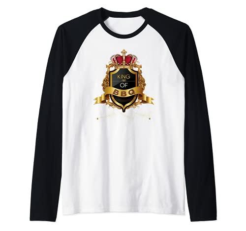 Rey de la barbacoa y parrilla y parrilla Cocine BBQ Barbecue Camiseta Manga Raglan