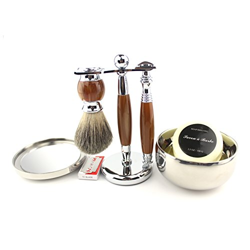 VICYUNS Luxury Grooming Shaving Set for Men Including Double-sided Razor, Allergy Shaving Soap, Stainless Steel with Mirror Bowl, Hair Shaving Brush,10 Replacement Blades (Agate Color)