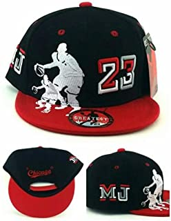 0fdb94f2 Chicago New Greatest 23 Legend Jordan Bulls Black Red MJ Dribbler Era  Snapback Hat Cap