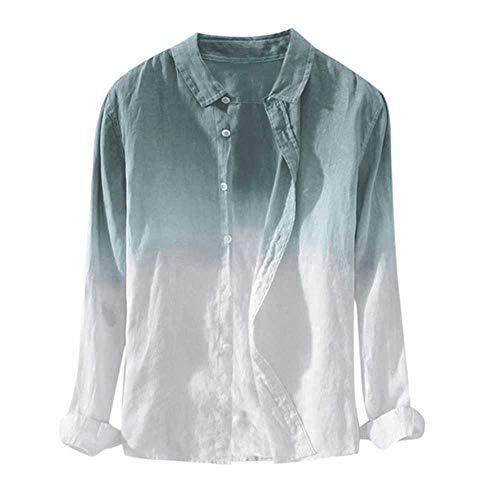 Chemises Hommes maleCool Mince Respirant Col Revers Suspendu Teint Gradient Coton Chemise Casual Col Hommes Chemise Nouveau Blouse Printemps été Automne