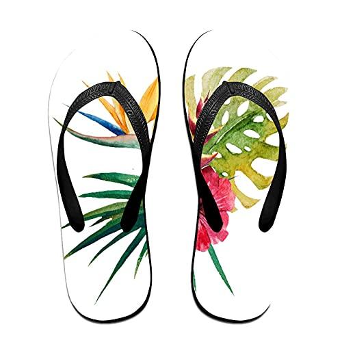 Sandalo infradito sottile unisex,Fiore di orchidea tropicale selvaggia co, Infradito per tappetino da yoga Comodo cinturino in pelle da spiaggia con suola in EVA leggera taglia L