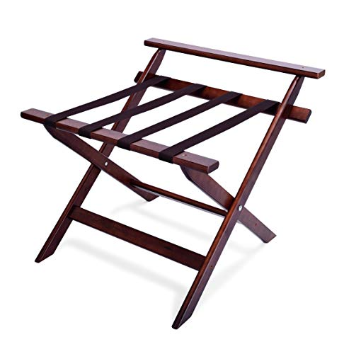 Kadida Kofferständer mit Wandschutz, zusammenklappbar mit Rahmen aus Holz Kofferablage Gepäckablage Hotel Kofferböck Ablage Pension