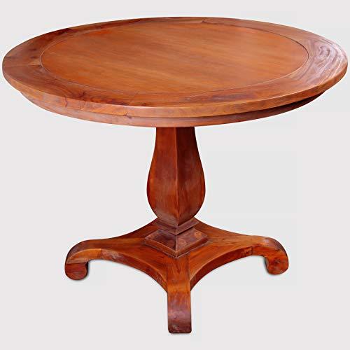 Rikmani – Mesa de Comedor Redonda (Toledo) – Mesa de Comedor de Madera de Caoba (100 cm) – Mesa de Comedor Redonda de Madera Maciza
