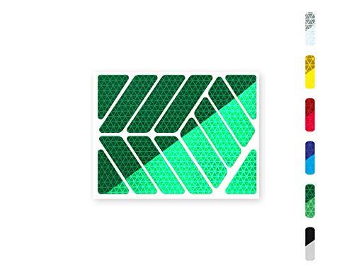 Streifen (quer oder gerade) Reflektor-Aufkleber - 6 Farben zur Auswahl – zwei Reflexions-Stärken (Classic Light und Pro) – für Kinderwagen, Fahrräder, Roller, Helme, Rollator (quer/Classic Pro, grün)