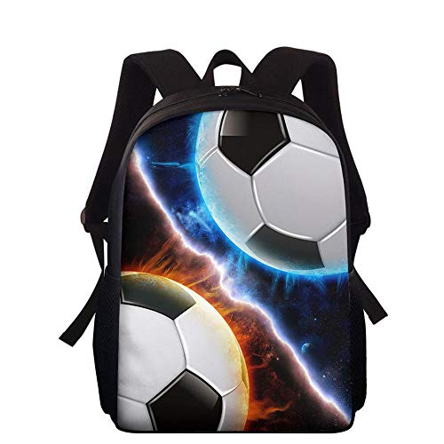 HUANIU Children's Backpack 3d Football Backpack Cartoon Ultralight Student School Bag Shoulder Bag Travel Backpack Computer Bag Large Capacity C-15in * 10.7in * 4.2in