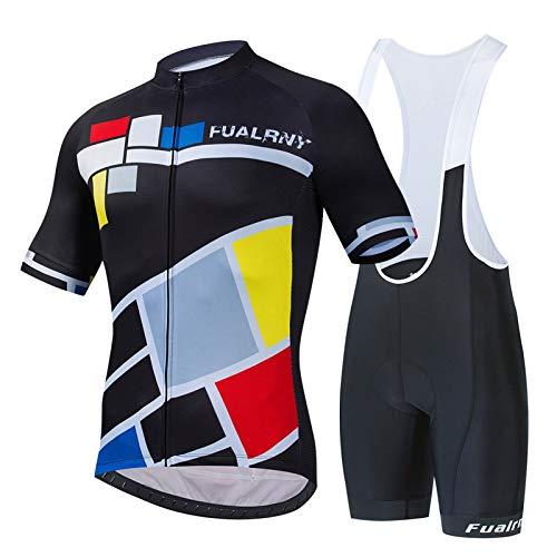 Traje Ciclismo Hombre para Verano, Ropa Ciclismo Hombre Verano, Conjunto De Ropa Verano Bicicleta Manga Corta+Pantalones Cortos. B,M