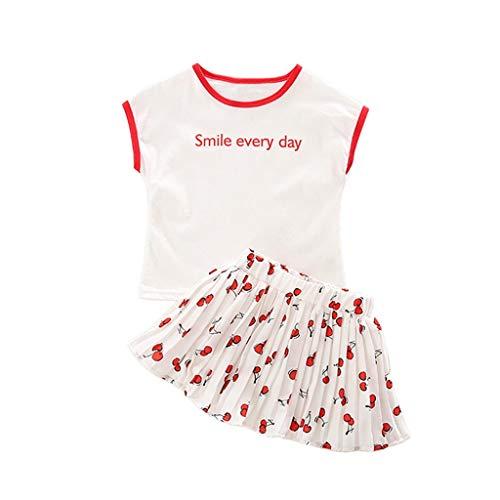 Julhold Peuter Kinderen Baby Meisjes Outfits O-Hals Kleding Letter Korte T-Shirt+Kersen geplooide Mini Rok Set