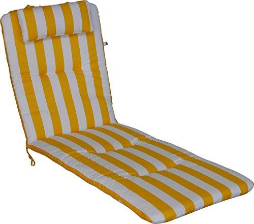 Angerer Liegenpolster mit Kopfkissen Design Blockstreifen, gelb/weiß, 190 x 60 x 6 cm, 2105/015