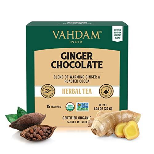 VAHDAM, Infusión Orgánica Jengibre Chocolate | Mezcla de Té Sin Cafeína | Ingredientes 100% Naturales – Trocitos de Cacao, Jengibre, Chocolate, Azafrán, Canela e Hibisco | 30 Bolsitas de Té
