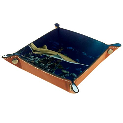 AITAI Valet Tray Veganes Leder Nachttisch Organizer Schreibtisch Aufbewahrung Teller Catchall Aquarium Kleiner Hai