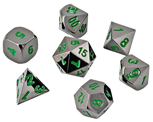 HEIMDALLR DND Dice Set 7 PCS - Metal Dungeons and Dragons Polyhedral Dice Set with D&D Dice Bag for RPG Gaming - Includes D20 - Blacksmith Craft Dice (Onyx & Emerald)