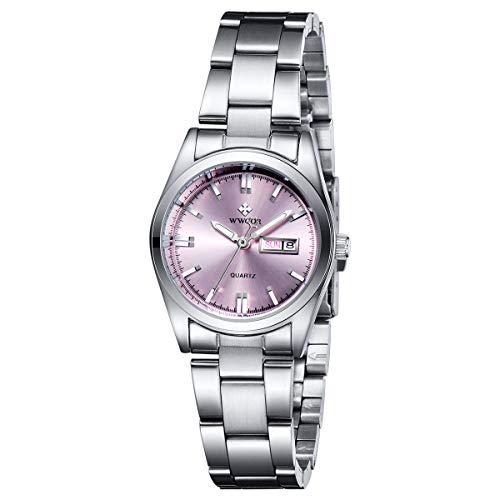 WWOOR Minimalistisches Uhren Damen Armbanduhr mit Datum Edelstahl Casual Klassisch Uhr Frauen