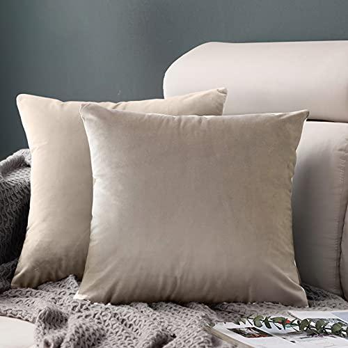 FORTRY Juego de 2 fundas de cojín de terciopelo suave y sólido, 55 x 55 cm, funda decorativa para sofá, dormitorio, color beige con corazón de madera