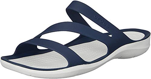 Crocs Swiftwater Women, Sandales Bout Ouvert Femme, Bleu (Navy/White 462), 36/37 EU
