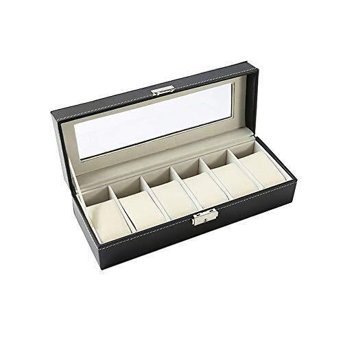 LQH 6 Reloj Pantalla de joyería Caja de Almacenamiento Caja Pulsera Bandeja Cuero Artificial Negro