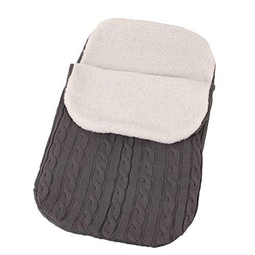 YeahiBaby Schlafsack für Babys, dicker Strick, warmer Woll-Strickschlafsack für Babys, Dunkelgrau