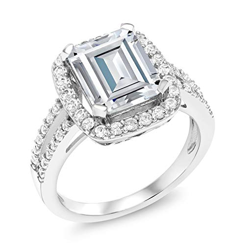 925 Sterling Silver Forever Brilliant Created Moissanite from Charles & Colvard and Created Sapphire Women Ring (4.13 Cttw, Emerald Cut 10X8MM, Available in size 5, 6, 7, 8, 9)