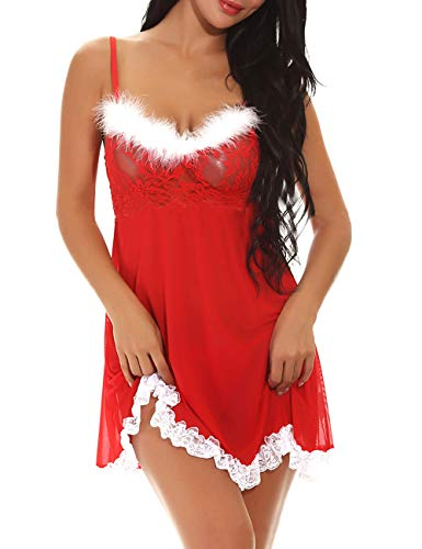 T.Mullen Babydoll Lingerie Sexy Donna Camicie da Notte Natale in Pizzo Rosso L