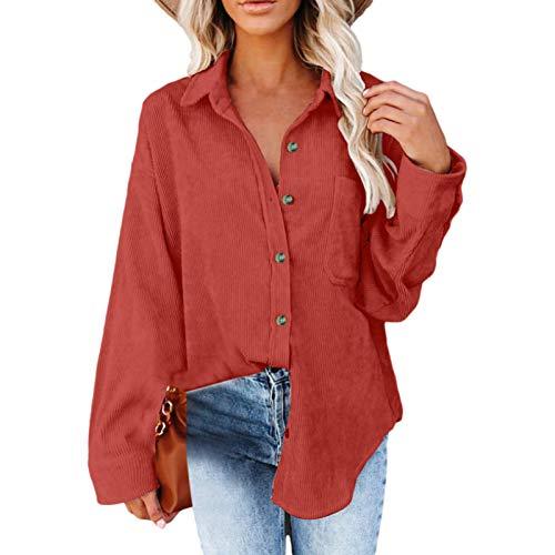 Blusa Larga para Mujer, Moda, Color sólido, Personalidad, Botones Irregulares, Dobladillo, Suelta, Informal, Vintage, Camisa Superior de Manga Larga, con Bolsillo XL