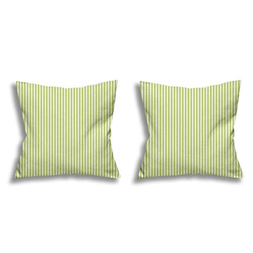 Daisylove - Set di 2 federe per cuscino, in lino, colore: verde lime