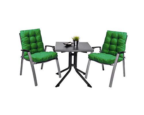 Pack 2 Cojines con Respaldo de Silla Jardin Conjunto Cojin de Asiento para Interior y Exterior Cómodo. Cojines para sillas, tumbonas, mecedoras terraza. (Verde)